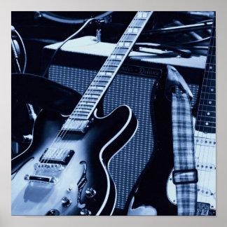Guitarras azules eléctricas póster