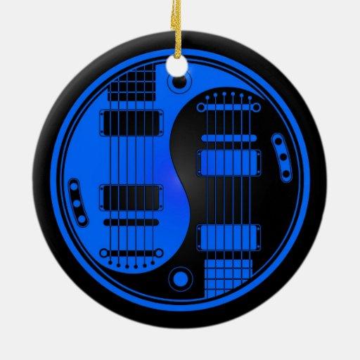 Guitarras azules y negras de Yin Yang Adorno Redondo De Cerámica