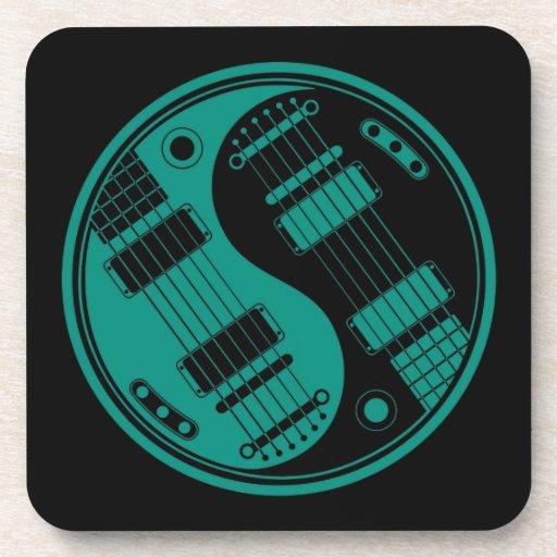 Guitarras azules y negras del trullo de Yin Yang Posavasos
