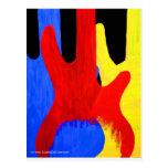 Guitarras bajas abstractas en colores primarios postal