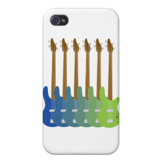 Guitarras bajas coloridas iPhone 4 carcasa