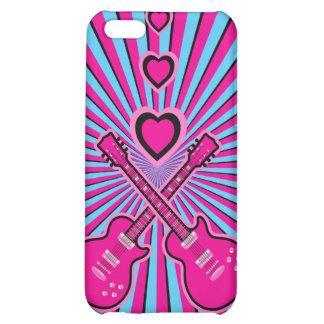 Guitarras bonitas y corazones rosados y negros