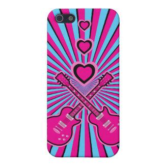 Guitarras bonitas y corazones rosados y negros iPhone 5 carcasas