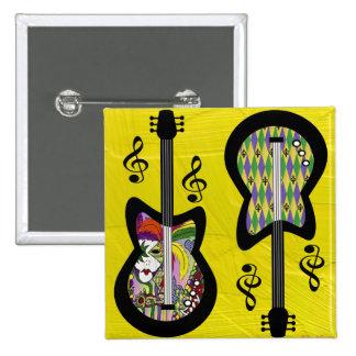 Guitarras coloridas del carnaval pins