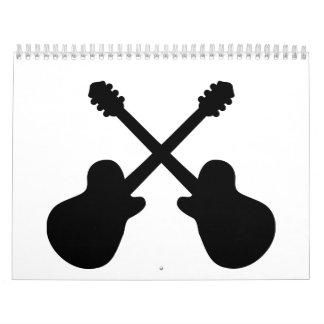 Guitarras cruzadas calendario de pared