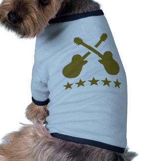 Guitarras cruzadas camiseta con mangas para perro