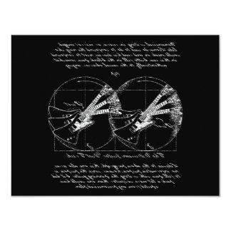 """Guitarras de Vitruvian Invitación 4.25"""" X 5.5"""""""