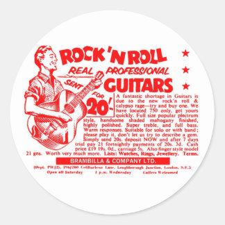 ¡Guitarras del rollo de N de la roca del vintage Pegatina Redonda