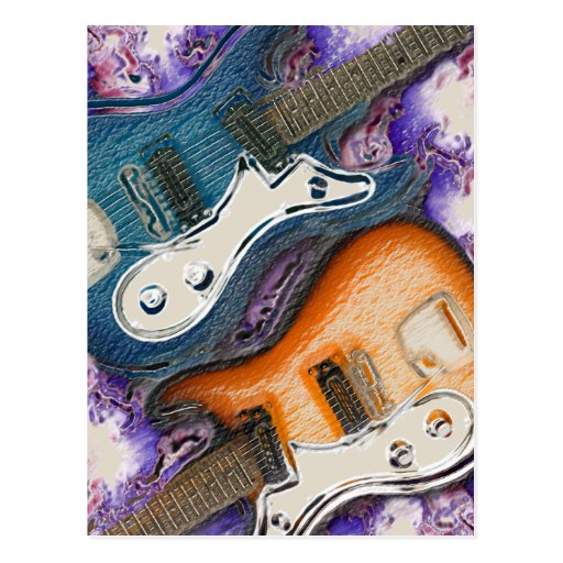 Guitarras eléctricas abstractas tarjeta postal