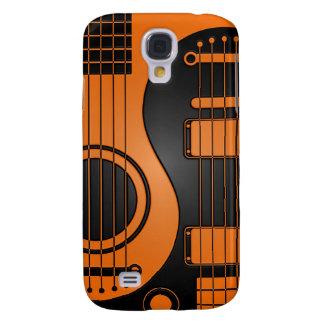 Guitarras eléctricas acústicas anaranjadas y negra