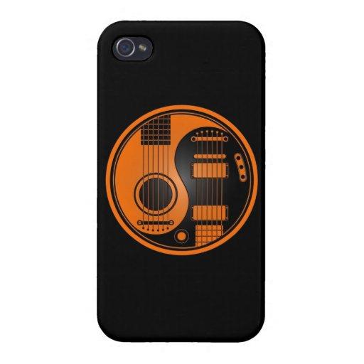 Guitarras eléctricas acústicas anaranjadas y negra iPhone 4 funda
