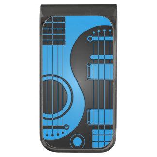 Guitarras eléctricas acústicas azules y negras Yin Clip Para Billetes Plomizo