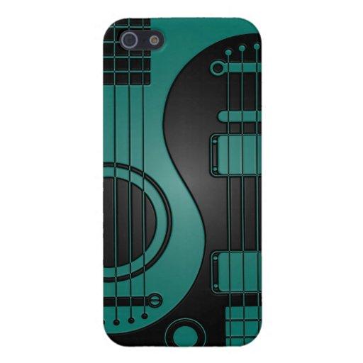 Guitarras eléctricas acústicas azules y negras Yin iPhone 5 Protectores