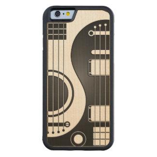 Guitarras eléctricas acústicas blancas y negras funda de iPhone 6 bumper arce
