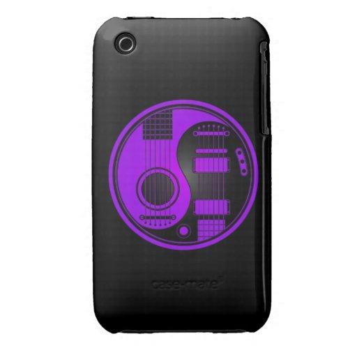 Guitarras eléctricas acústicas púrpuras y negras Case-Mate iPhone 3 funda