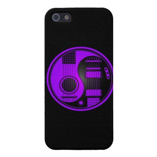 Guitarras eléctricas acústicas púrpuras y negras Y iPhone 5 Carcasa