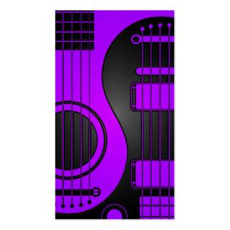Guitarras eléctricas acústicas púrpuras y negras Y Tarjetas De Visita
