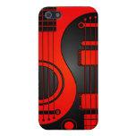 Guitarras eléctricas acústicas rojas y negras Yin  iPhone 5 Cárcasas