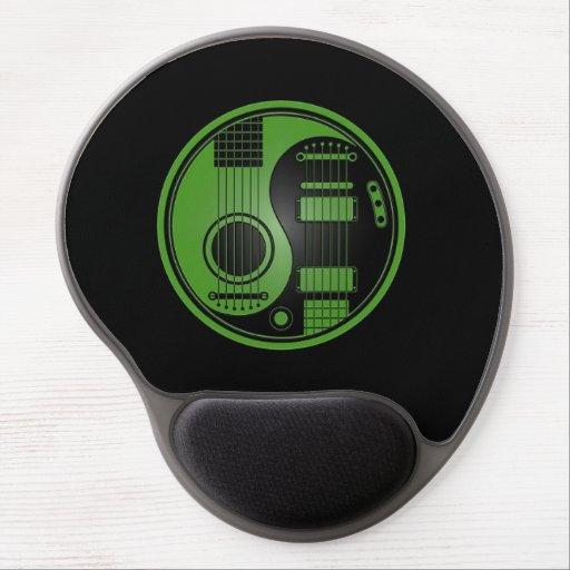 Guitarras eléctricas acústicas verdes y negras Yin Alfombrilla De Ratón Con Gel