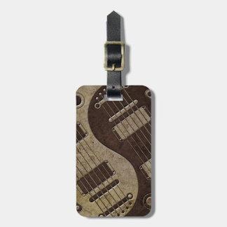 Guitarras eléctricas ásperas Yin Yang de Brown Etiquetas Para Equipaje