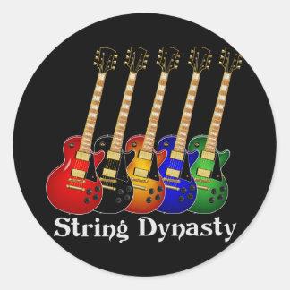 Guitarras eléctricas de la dinastía de la secuenci pegatinas redondas