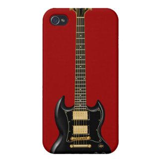 Guitarras eléctricas del heavy (negro) iPhone 4 carcasas