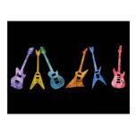 Guitarras eléctricas en colores eléctricos postales