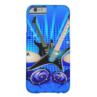 Guitarras eléctricas tambores y altavoces azules