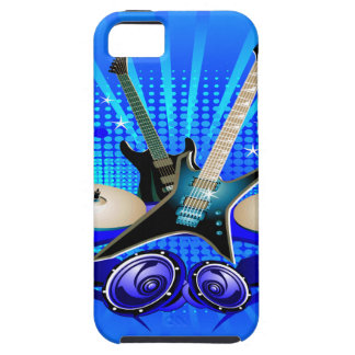 Guitarras eléctricas, tambores y altavoces azules funda para iPhone 5 tough