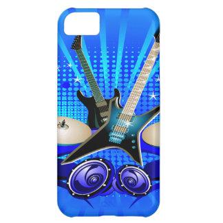Guitarras eléctricas, tambores y altavoces azules funda para iPhone 5C