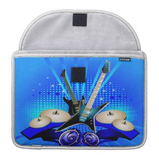 Guitarras eléctricas, tambores y altavoces azules fundas para macbook pro