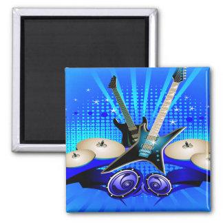Guitarras eléctricas, tambores y altavoces azules imán cuadrado