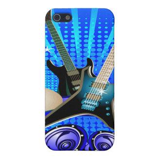 Guitarras eléctricas, tambores y altavoces azules iPhone 5 fundas