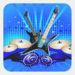 Guitarras eléctricas, tambores y altavoces azules pegatina cuadrada