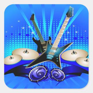 Guitarras eléctricas tambores y altavoces azules calcomania cuadradas personalizada