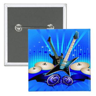 Guitarras eléctricas tambores y altavoces azules pin