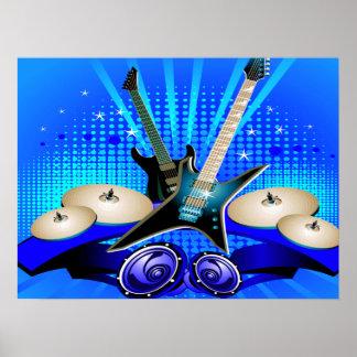 Guitarras eléctricas, tambores y altavoces azules póster
