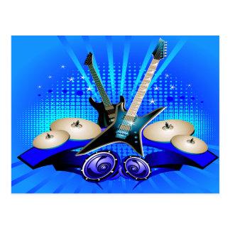 Guitarras eléctricas, tambores y altavoces azules tarjetas postales