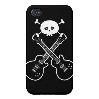 Guitarras frescas y cráneo negros y blancos iPhone 4 fundas