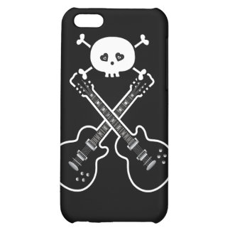 Guitarras frescas y cráneo negros y blancos