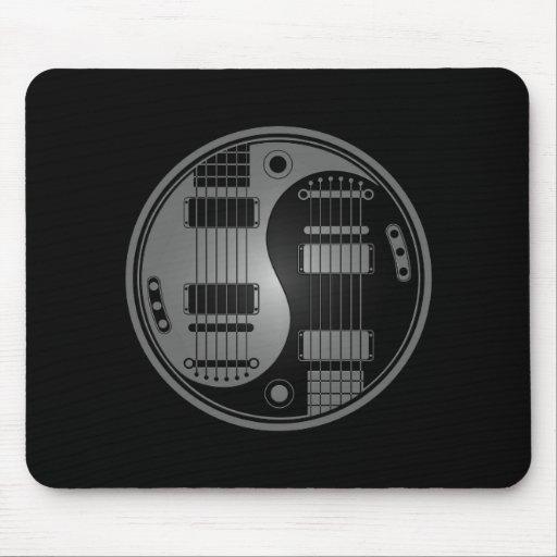 Guitarras grises y negras de Yin Yang Tapetes De Ratones