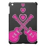 Guitarras lindas y corazones rosados y negros