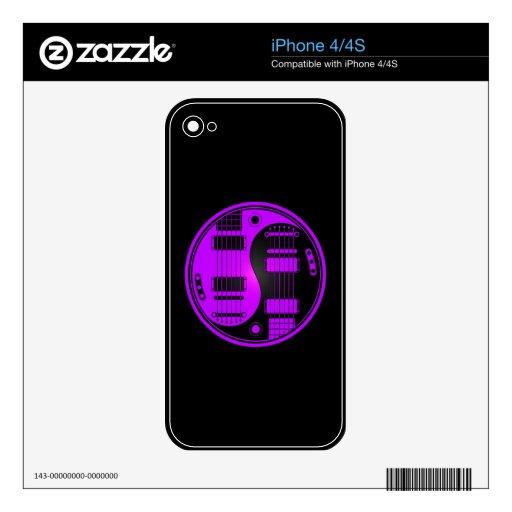 Guitarras púrpuras y negras de Yin Yang Skins Para eliPhone 4S