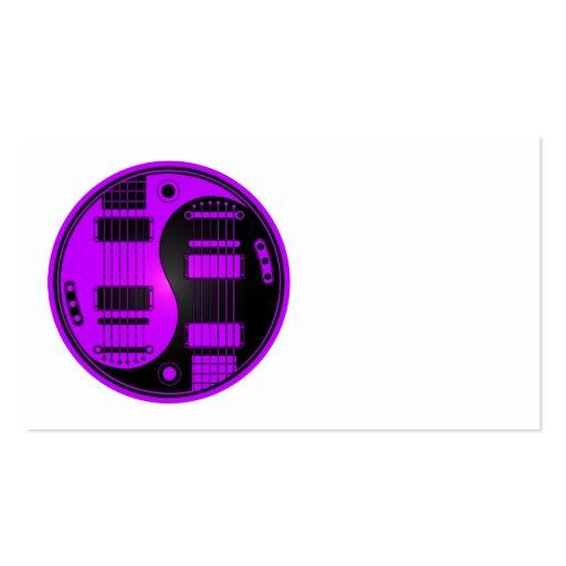 Guitarras púrpuras y negras de Yin Yang Tarjetas De Visita