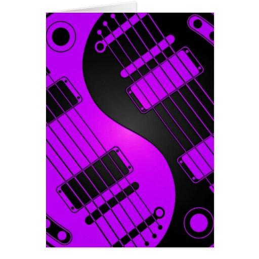 Guitarras púrpuras y negras de Yin Yang Tarjeton