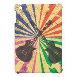 Guitarras retras del Grunge en fondo del starburst iPad Mini Carcasa