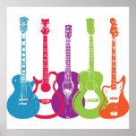Guitarras retras punkyes del vintage póster