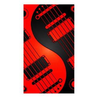 Guitarras rojas y negras de Yin Yang Tarjetas De Visita