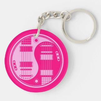 Guitarras rosadas de Yin Yang Llaveros