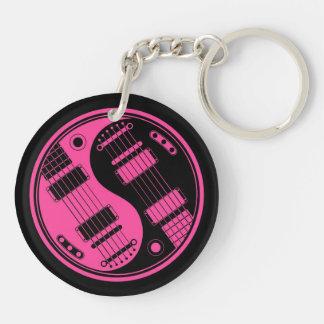 Guitarras rosadas y negras de Yin Yang Llavero